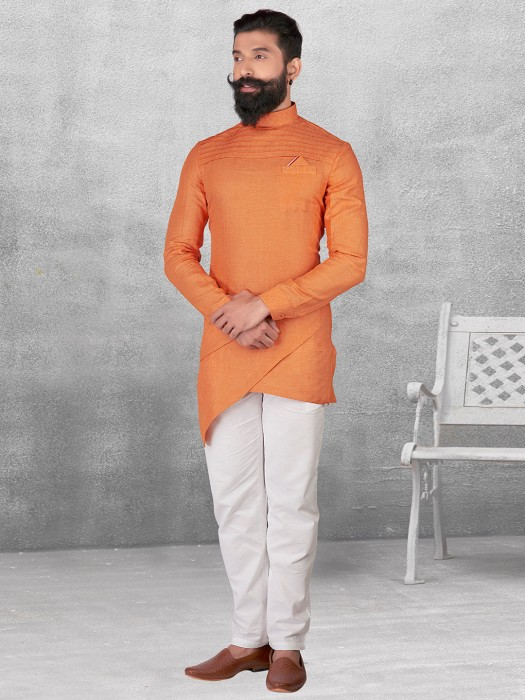 Silk Orange Plain Kurta Suit