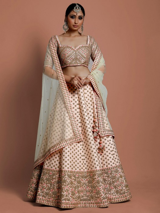 Silk Peach Wedding Wear Lehenga Choli