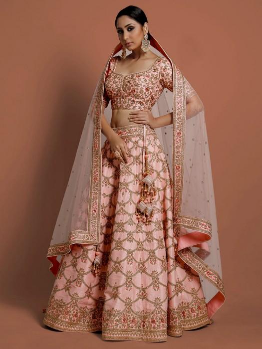 Silk Pink Sweetheart Neck Lehenga Choli In Wedding