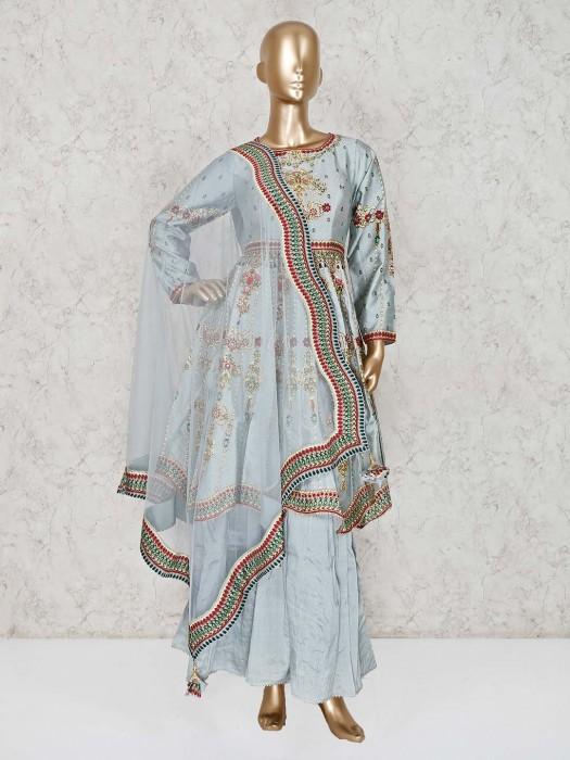 Silk Sky Blue Designer Punjabi Sharara Suit