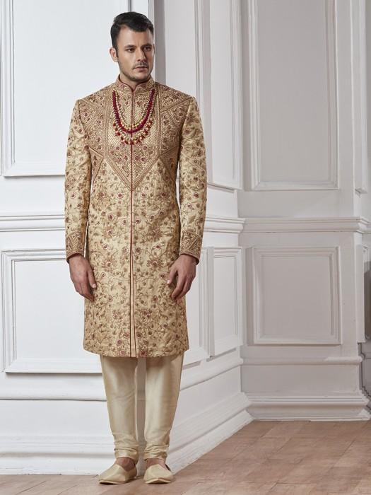 Silk Wedding Beige Sherwani