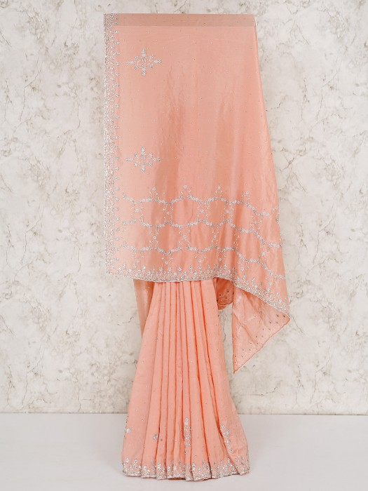 Silk Wedding Peach Saree