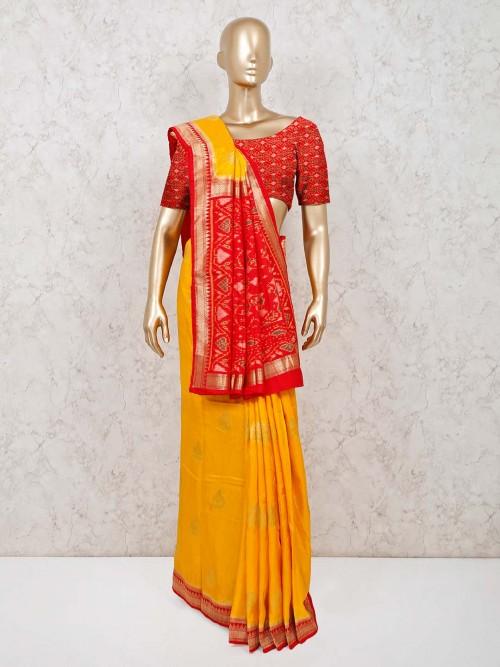 Silk Wedding Saree Design In Yellow
