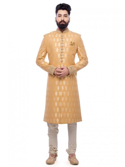 Silk Yellow Festive Wear Sherwani