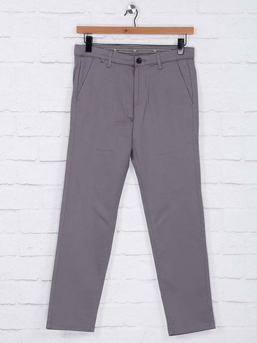 Sixth Element Solid Grey Hued Cotton Trouser