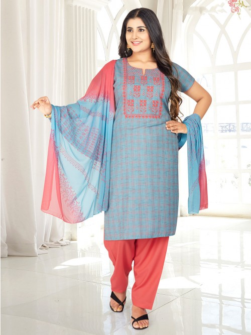 Sky Blue Checks Style Punjabi Salwar Suit In Cotton