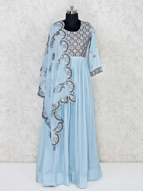 Sky Blue Cotton Festive Wear Anarkali Suit