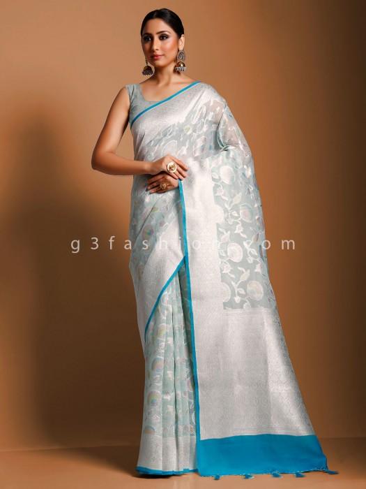 Sky Blue Designer Saree In Banarasi Organza Silk