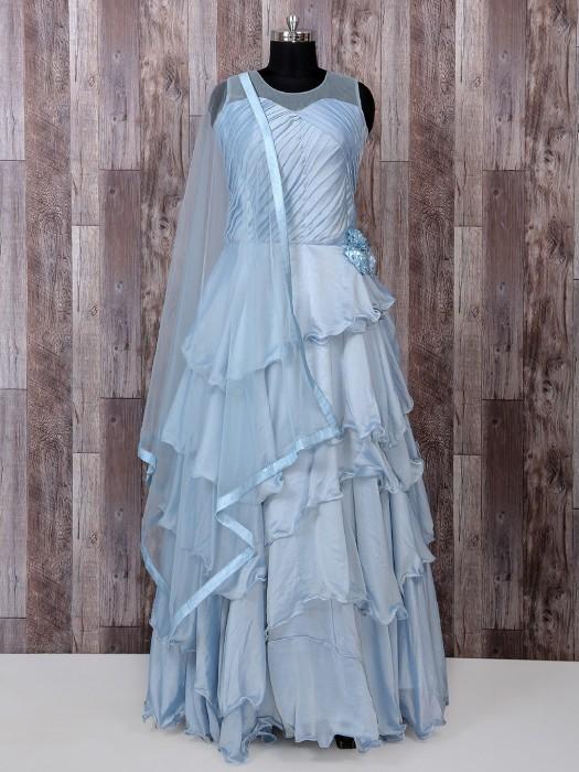 Sky Blue Designer Silk Gown