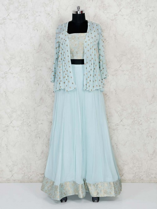 Sky Blue Festive Jacket Style Lehenga Choli In Georgette