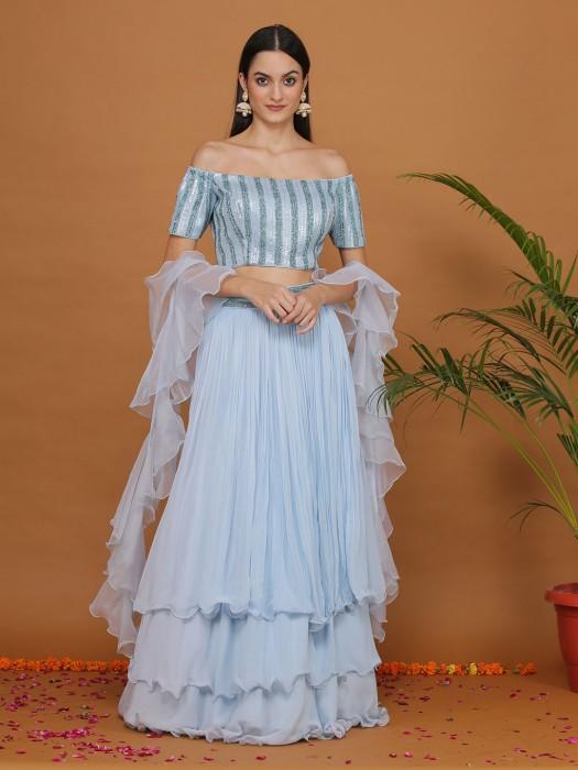 Sky Blue Georgette Layer Style Lehenga Choli
