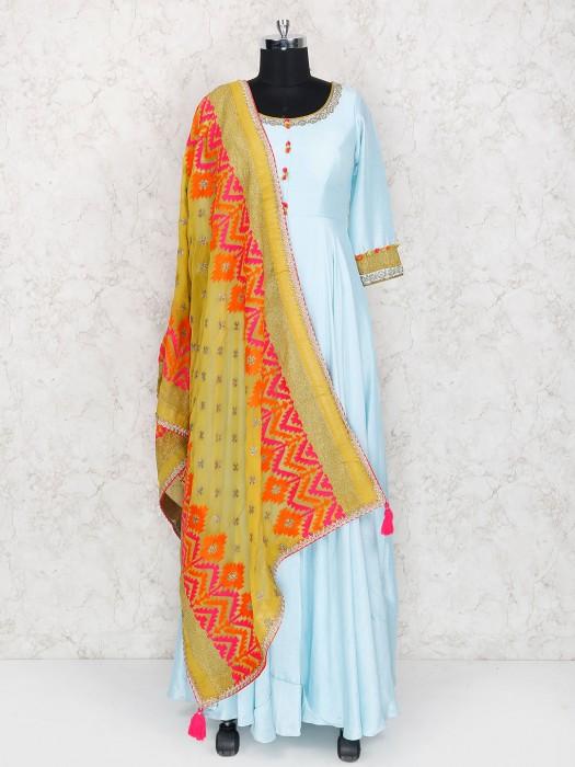 Sky Blue Raw Silk Floor Length Anarkali Suit