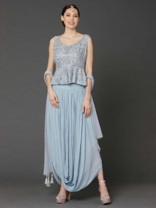 Sky Blue Raw Silk Peplum Style Dhoti Suit