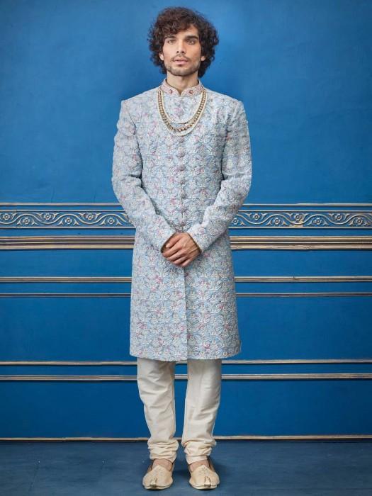 Sky Blue Wedding Wear Terry Rayon Indo Western Dress