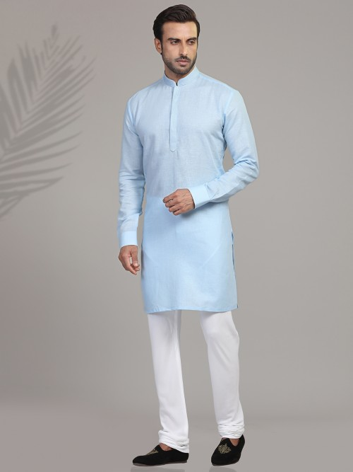 Sky Cotton Kurta Suit For Festive