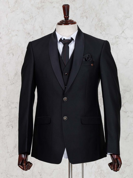 Solid Black Hued Terry Rayon Fabric Coat Suit