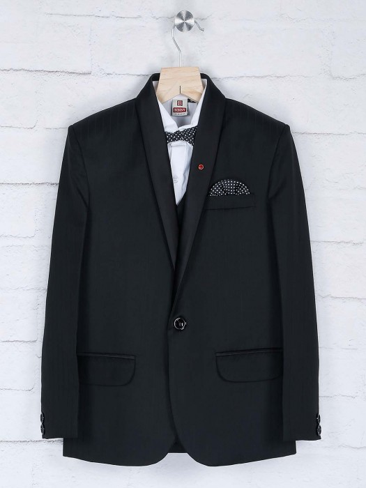 Solid Black One Buttoned Placket Coat Suit