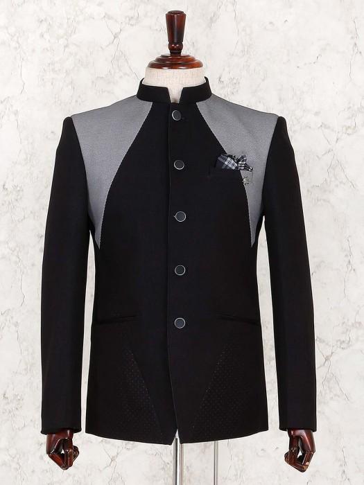 Solid Black Terry Rayon Fabric Jodhpuri Suit