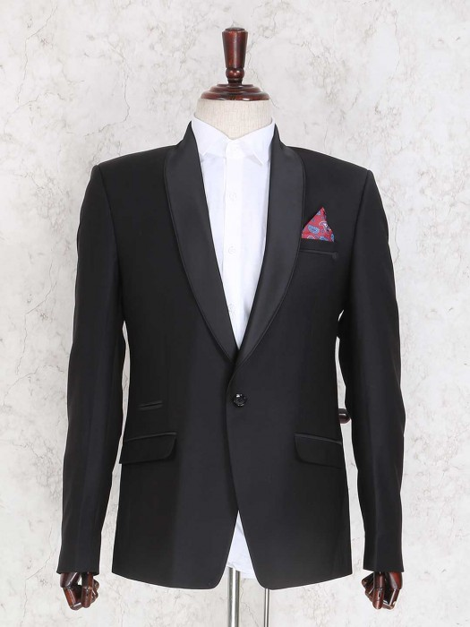 Solid Black Terry Rayon Party Coat Suit