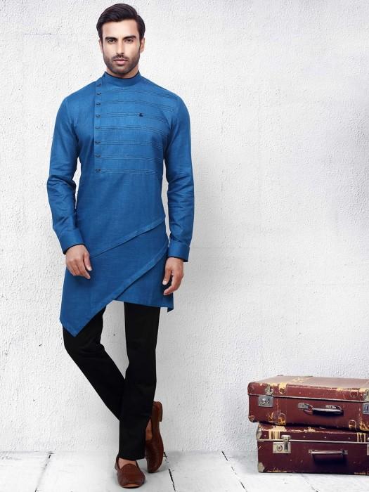Solid Blue Cotton Kurta Suit For Festive Wear