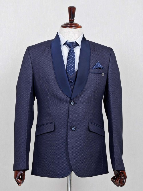 Solid Blue Terry Rayon Party Wear Coat Suit