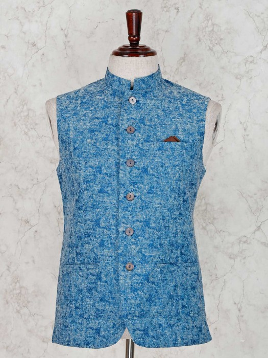 Solid Blue Terry Rayon Waistcoat