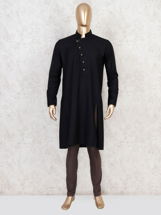 Solid Bold And Classy Black Cotton Kurta Suit