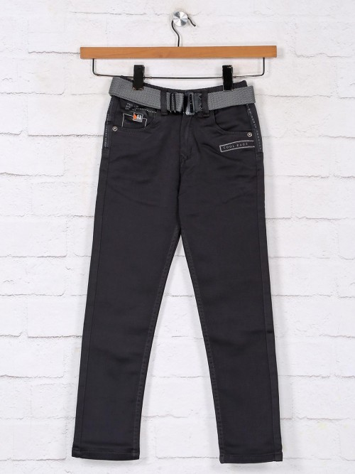 Solid Dark Grey Denim Casual Jeans