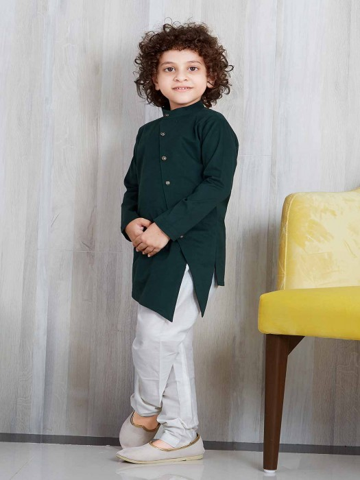 Solid Green Cotton Silk Kurta Suit
