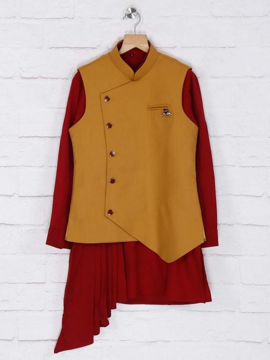 Solid Maroon And Brown Hued Waistcoat Set