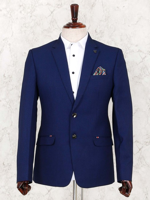 Solid Navy Color Terry Rayon Fabric Blazer