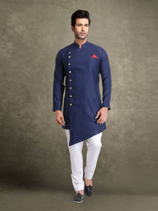 Solid Navy Cotton Full Buttoned Placket Kurta Suit