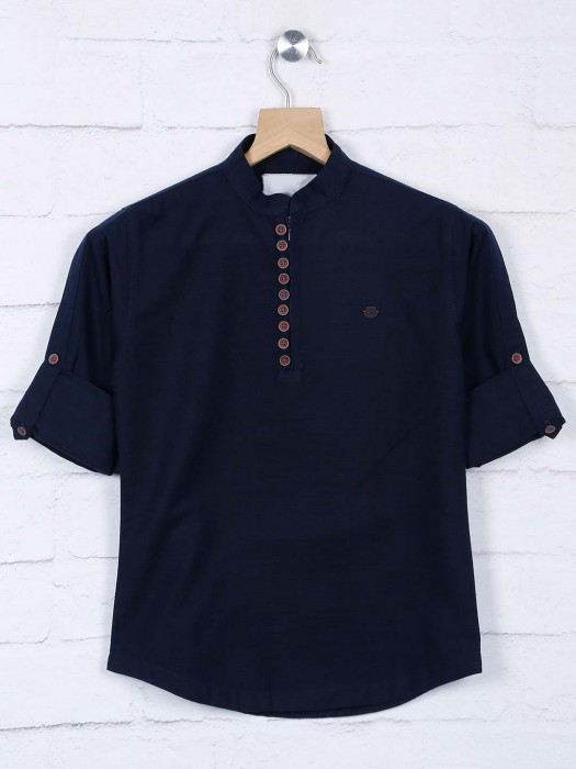 Solid Navy Hue Cotton Boys Casual Shirt