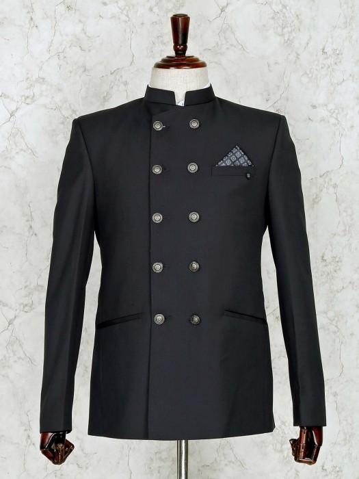 Solid Grey Terry Rayon Jodhpuri Suit