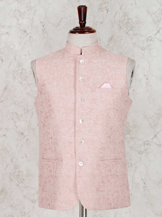 Solid Peach Terry Rayon Party Waistcoat