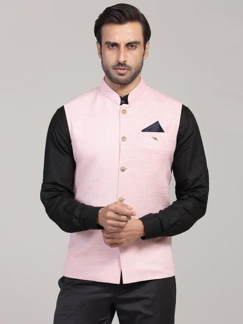 Solid Pink Cotton Silk Mens Waistcoat