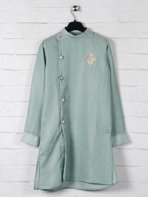 Solid Pista Green Kurta Suit In Cotton