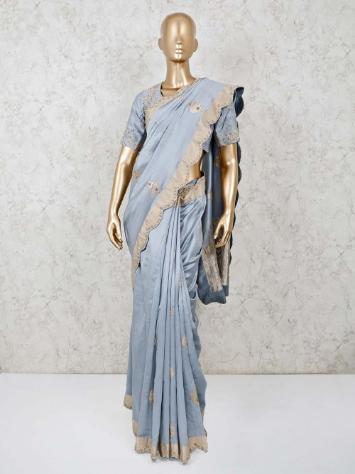 Solid Grey Dola Silk Saree With Readymade Blouse