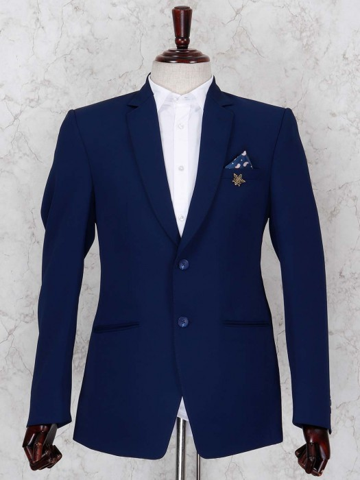 Solid Royal Blue Colored Blazer For Party