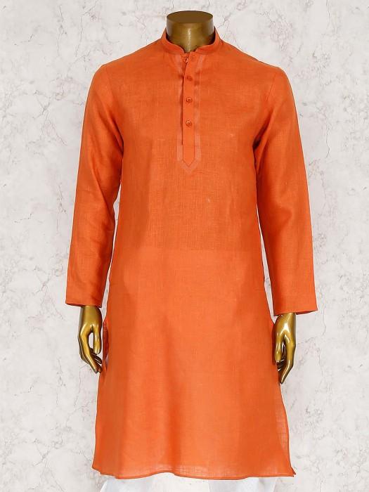 Solid Rust Orange Cotton Fabric Kurta Suit