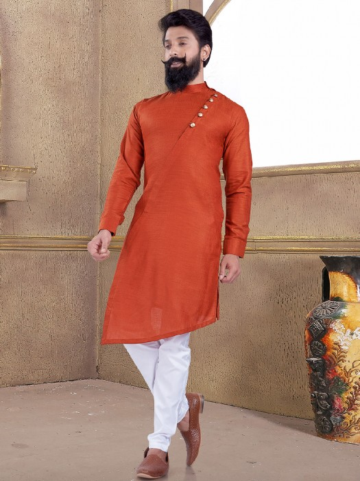 Solid Rust Orange Kurta Suit
