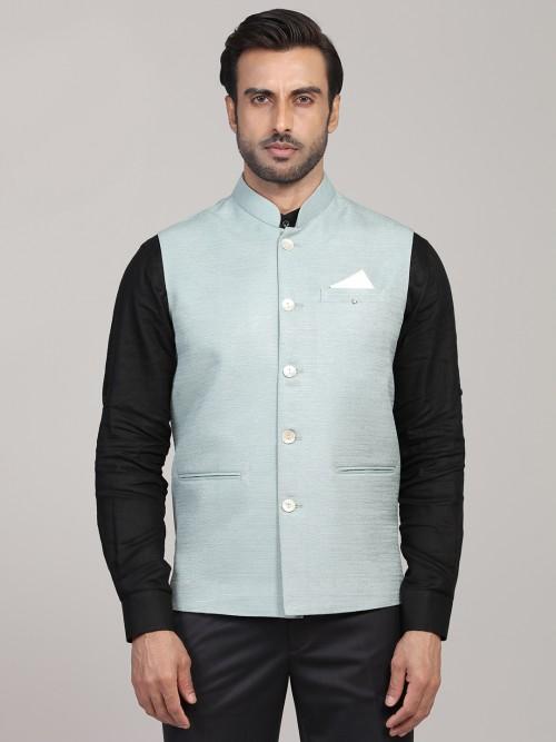 Solid Sea Green Cotton Silk Party Waistcoat