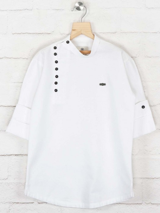 Solid White Colored Cotton Kurta