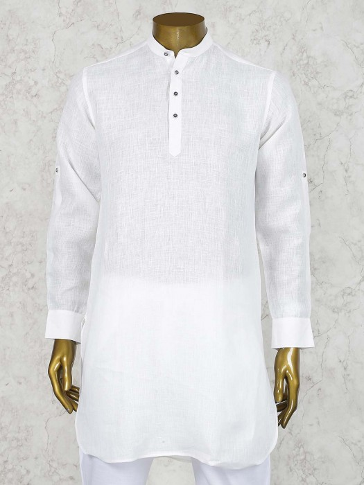 Solid White Hued Linen Cotton Short Pathani