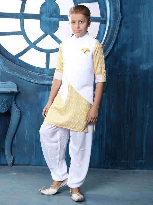 Solid Yellow Cotton Waistcoat Set For Boys