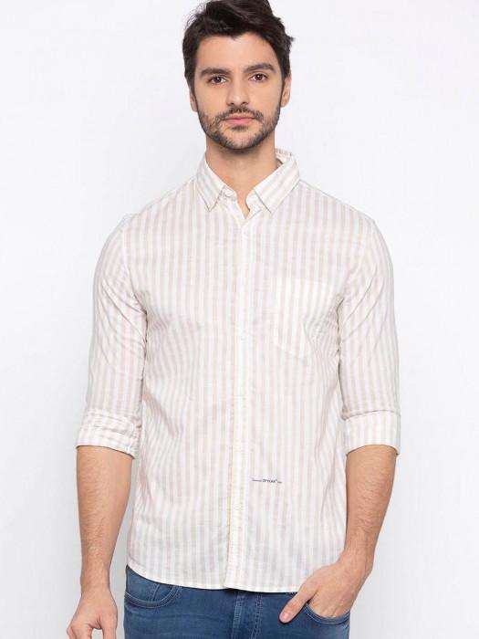 Spykar Beige Stripe Cotton Shirt