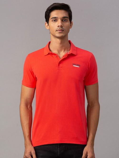 Spykar Solid Orange Cotton T-shirt