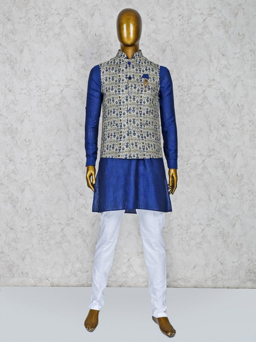 Stand Collar Beige And Navy Hue Waistcoat Set