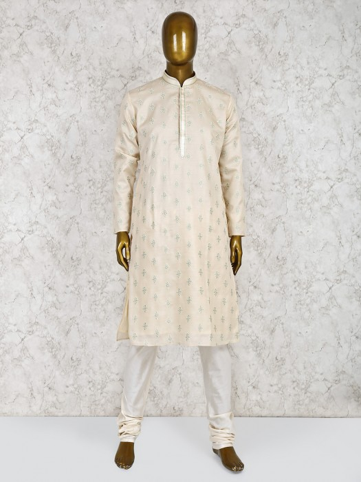 Stand Collar Cream Hue Cotton Silk Kurta Suit