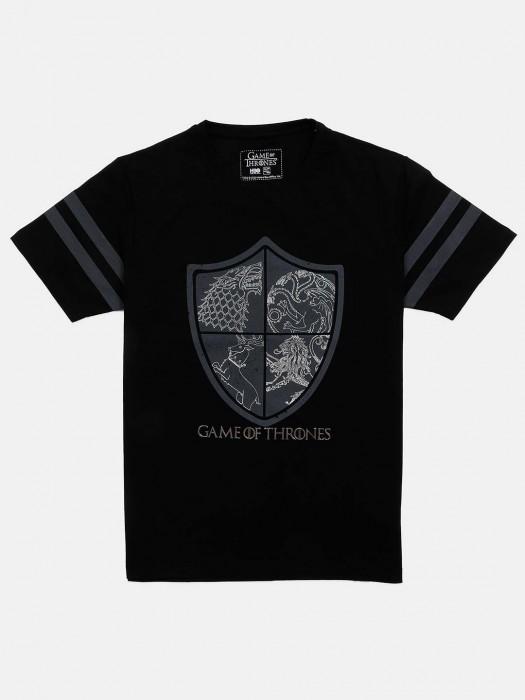 Status Quo Black Printed Slim Fit T-shirt